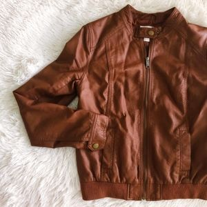 OLD NAVY brown faux leather jacket with pockets